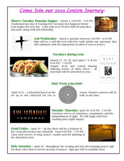 Come Join our 2019 Lenten Journey