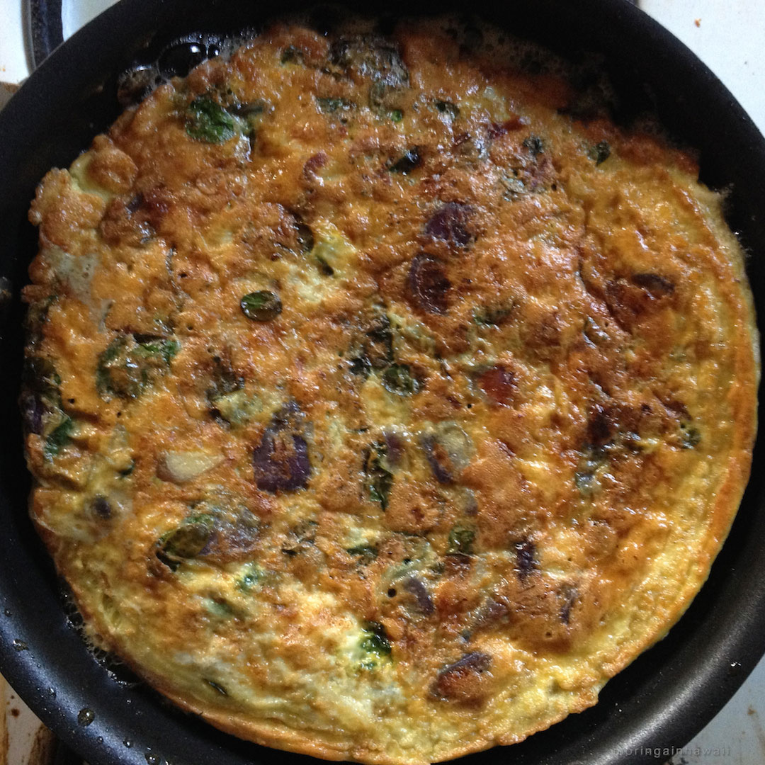 Moringa leaves with sweet potato frittata