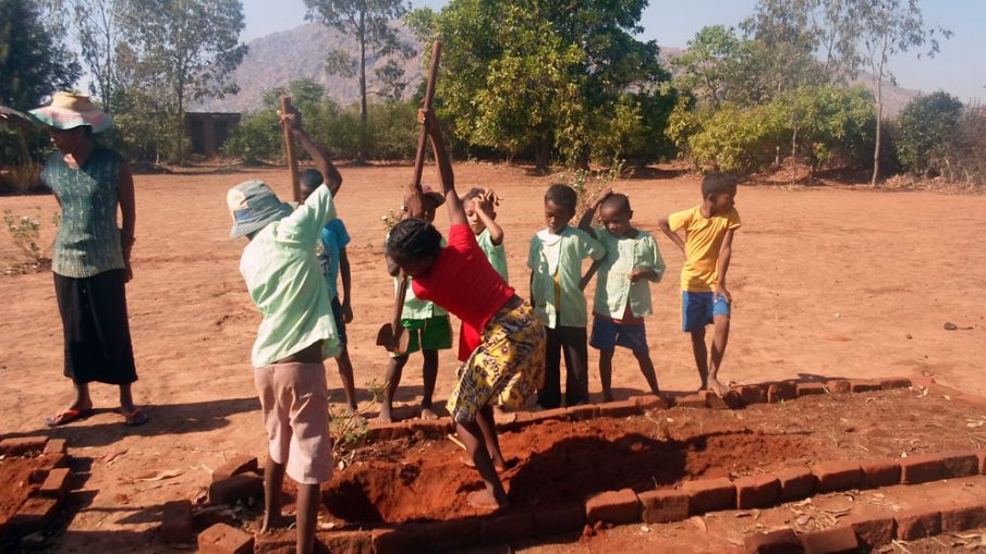Digging a hole to plant a moringa seedling in a school in Madagascar