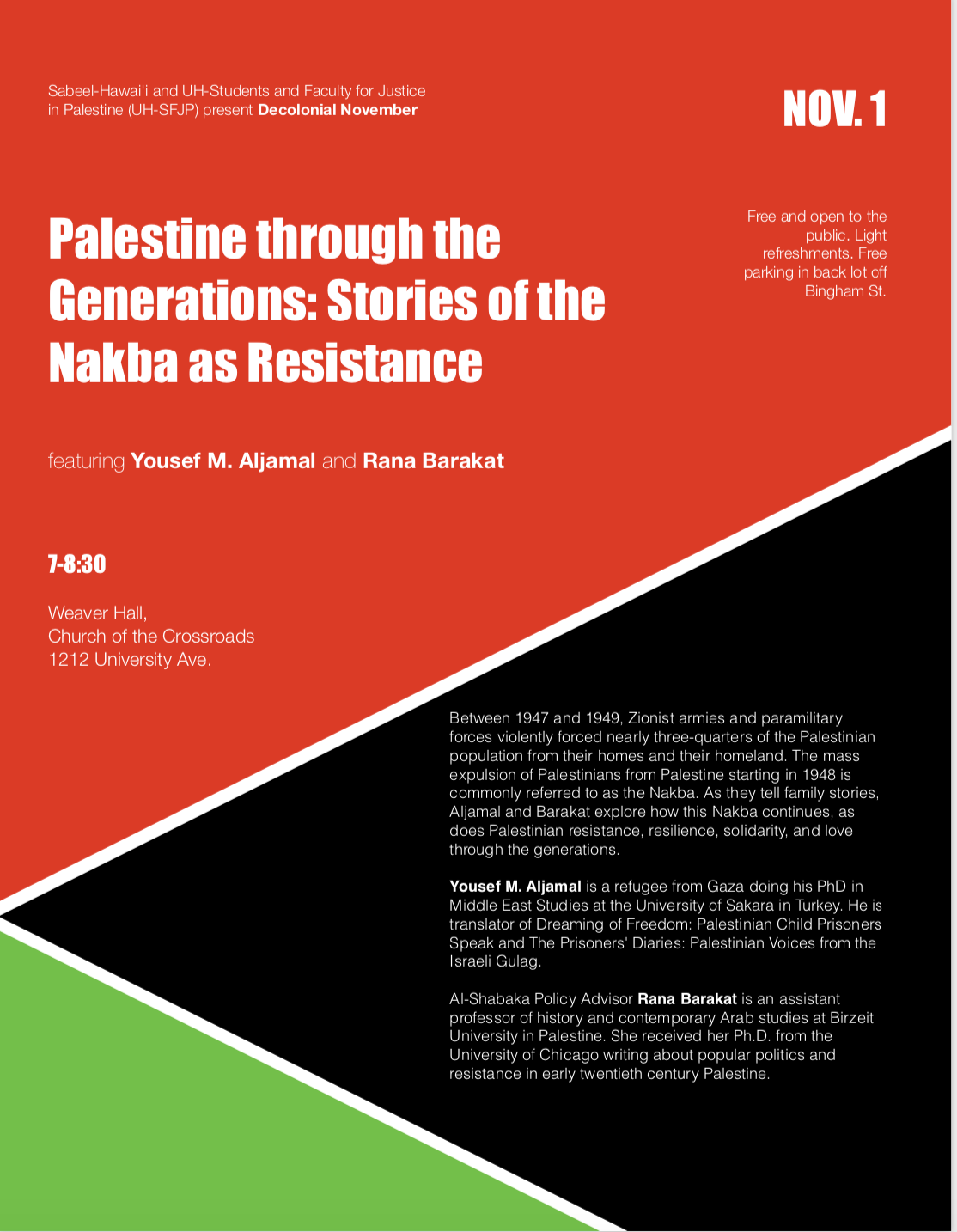 11/1 Palestine though the Generations: Stories of the Nakba as Resitance